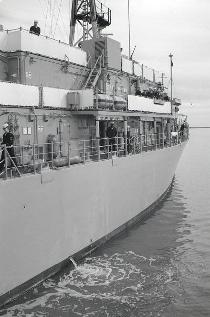 A starboard quarter view of the mine countermeasures ship USS AVENGER (MCM 1) arriving in home port at Naval Base, Charleston.  The AVENGER, assigned to Mine Squadron 2, is the first of eight ships currently being built by the Navy to replace the older open ocean minesweepers (MSOs) constructed in the 1950s