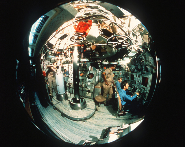 A wide-angle view of the control center on the nuclear-powered fleet ballistic missile submarine USS GEORGIA (SSBN-729) as seen through a fish-eye lens
