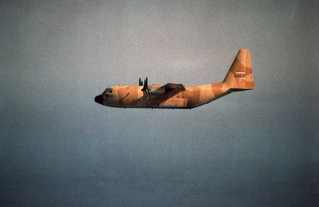 An Iranian C-130 Hercules cargo aircraft in flight over the Persian Gulf