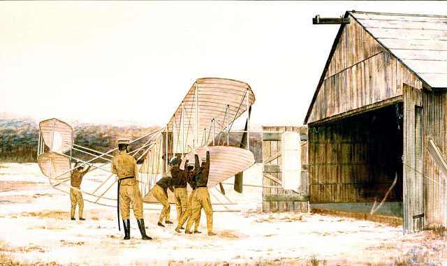 """Artwork:""""Wright Flyer in Sepia Tone""""Artist:  Jerry Moore"""