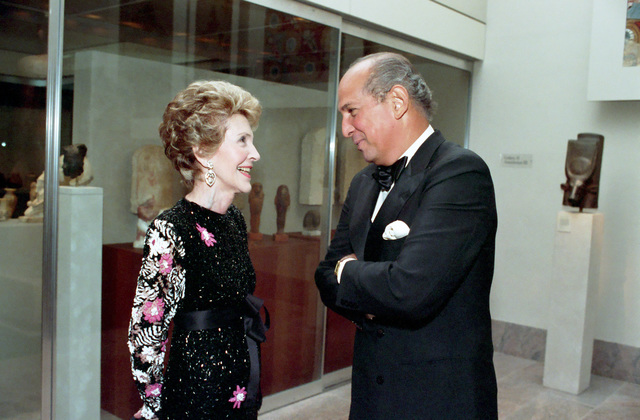 Nancy Reagan and Oscar de la Renta Attending the Council of Fashion Designers of America (CFDA) Dinner Honoring Brooke Astor at The Carlyle Hotel in New York City