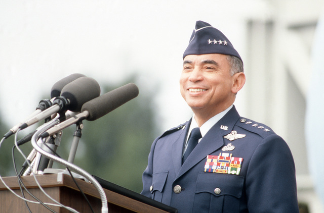 General (GEN) Bernard P. Randolph, commander, Air Force Systems Command, speaks during the official acceptance and dedication ceremony for the Titan IV launch vehicle, built by Martin Marietta Denver Aerospace
