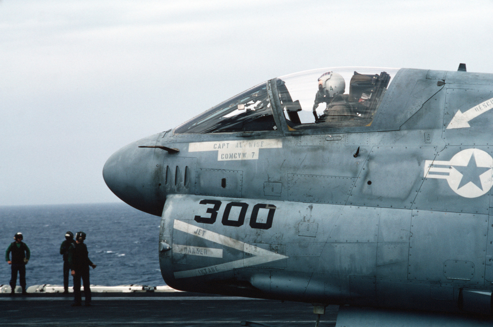 A left side view of the cockpit of an A-7 Corsair II as the aircraft is prepared for takeoff from the nuclear-powered aircraft carrier USS DWIGHT D. EISENHOWER (CVN 69)