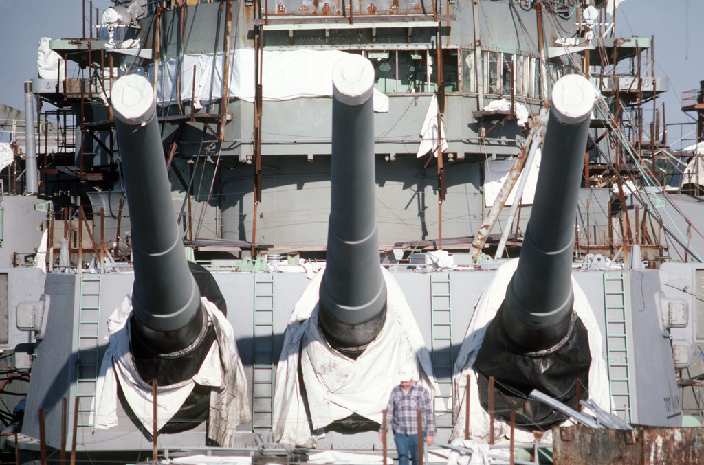 A view of the No. 2 Mark 7 16-inch/50-caliber gun turret aboard the battleship USS WISCONSIN (BB 64). The ship is undergoing reactivation and modernization construction at the Litton/Ingalls shipyard