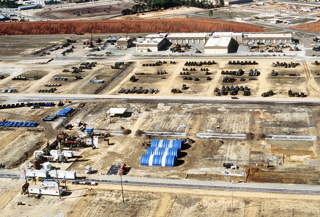 An aerial view of an incinerator, left foreground, at the Air Force's Dioxin Elimination Test Facilities. Incinerators are used in the decontamination process by which dioxins are removed from contaminated soil
