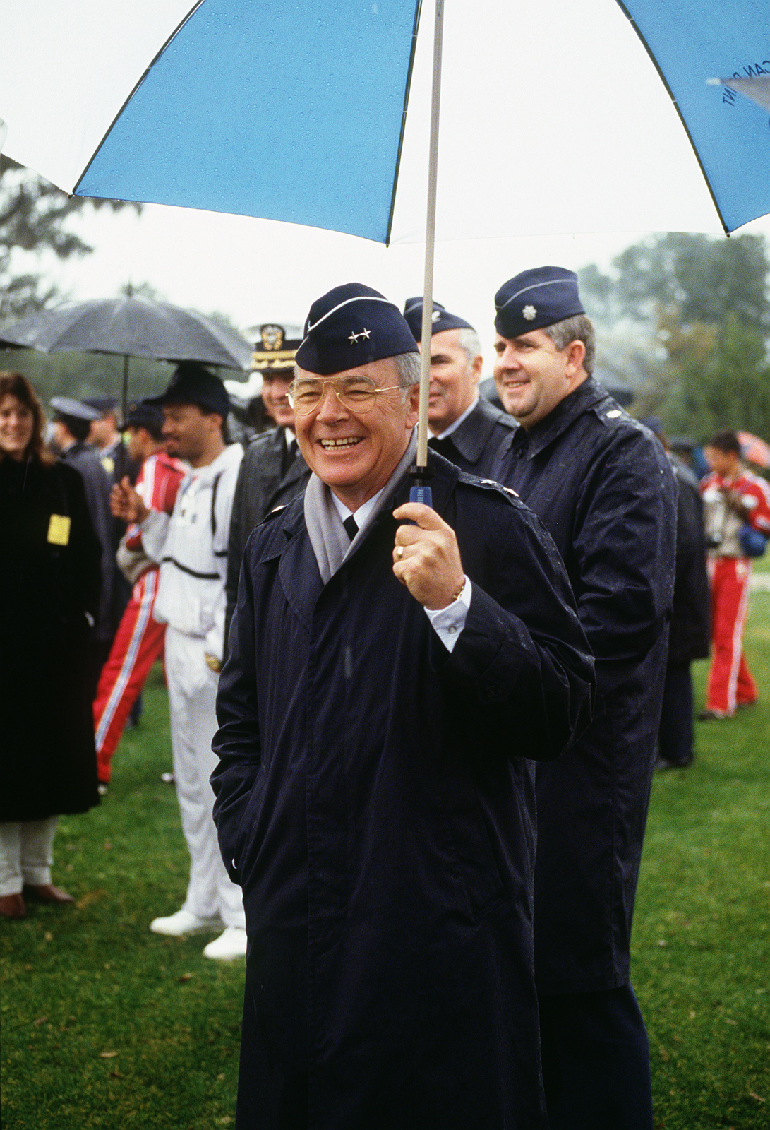 Major General (MGEN) Clifford H. Rees Jr., commander, Air Defense Weapons Center, Tactical Air Command, observes races during the 1988 Conseil International Du Sport Militaire's Cross Country Championship (CISM)