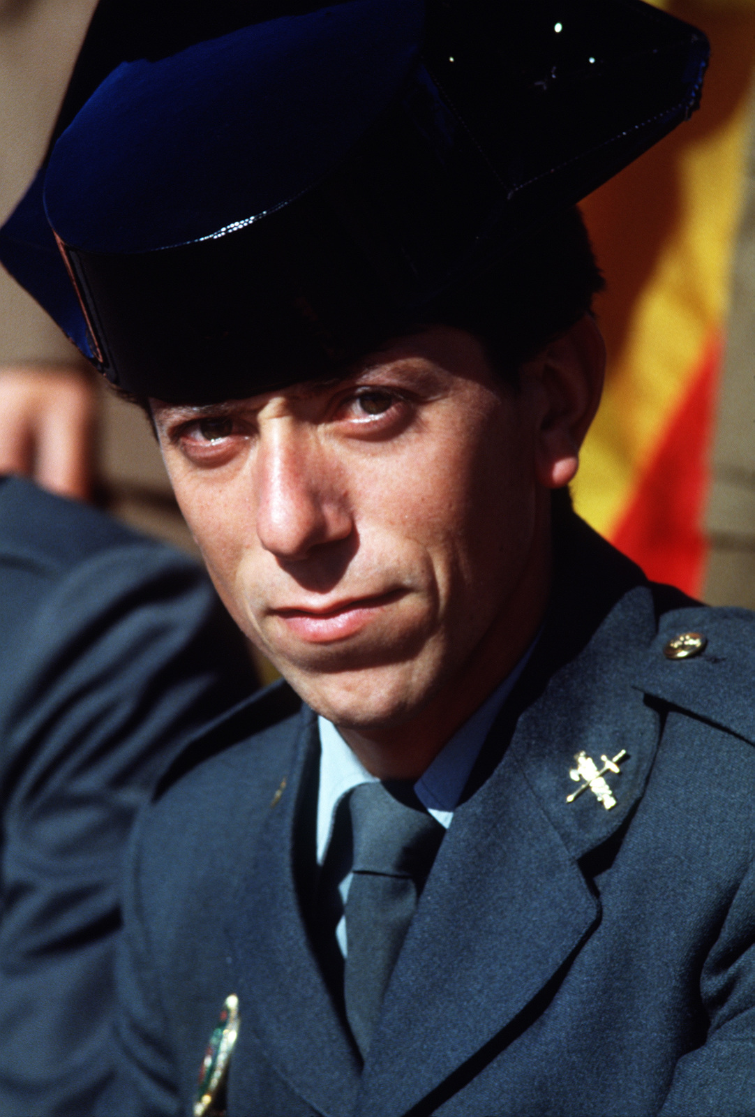 Spanish officer Manuel Martinez Merludo attends the opening ceremony of the 1988 Conseil International Du Sport Militaire's Cross Country Championship (CISM)