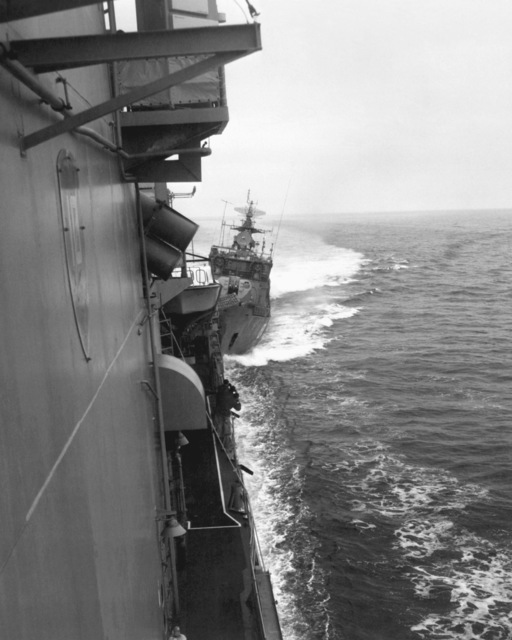 The destroyer USS CARON (DD-970) is struck by the bows of a Soviet Mirka II class light frigate (FL-824) as the American vessel exercises the right of free passage through the Soviet-claimed 12-mile territorial waters