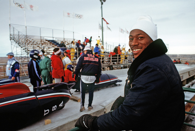 Captain (CPT) William White, 3245th Security Police Squadron, US Air Force, and a member of the US Bobsled Team, takes a break prior to participating in a bobsled race, part of the bobsledding competition during the 1988 Winter Olympics