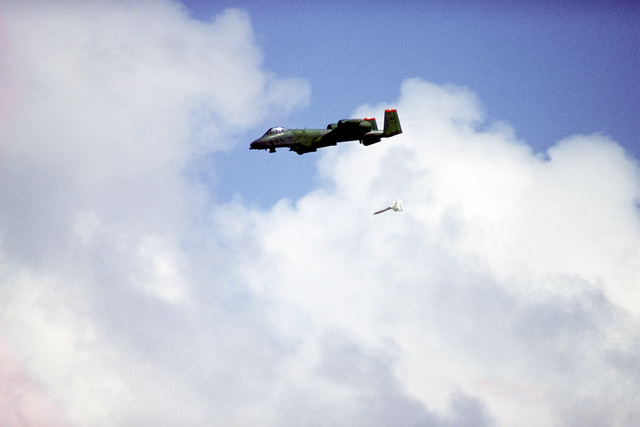 A 926th Tactical Fighter Group A-10 Thunderbolt II aircraft drops a 500-lb. bomb at Vieques Range during exercise Patriot Pearl