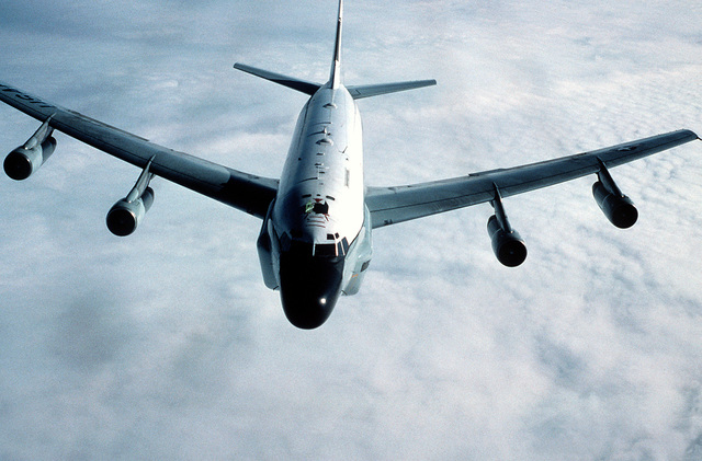 An air-to-air front view of an RC-135 Stratolifter aircraft from the 306th Strategic Wing during a refueling mission over the North Sea