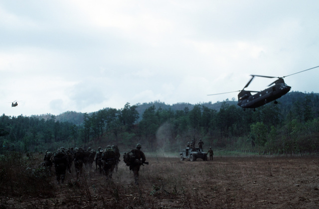 US Army (USA) CH-47 Chinook helicopters, carrying a