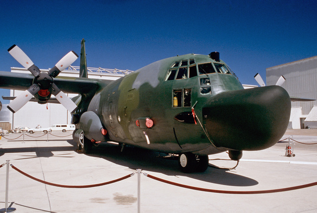 On static display during its rollout, an MC-130H Combat Talon II aircraft assigned to the 8th Special Operations Squadron reveals a bulbous nose housing its AN/APQ-170 radar; an infrared set is in the bubble beneath.  The MC-130H is a special operations m