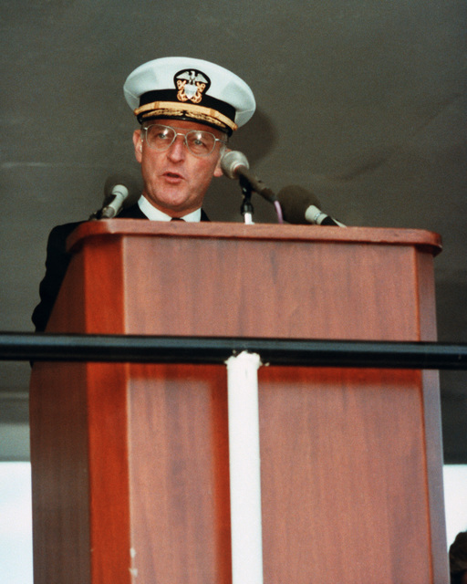 Vice Admiral (VADM) William H. Rowden, commander, Naval Sea Systems Command, speaks during the launching ceremony for the Aegis guided missile cruiser USS NORMANDY (CG 60) at Bath Iron Works Corporation