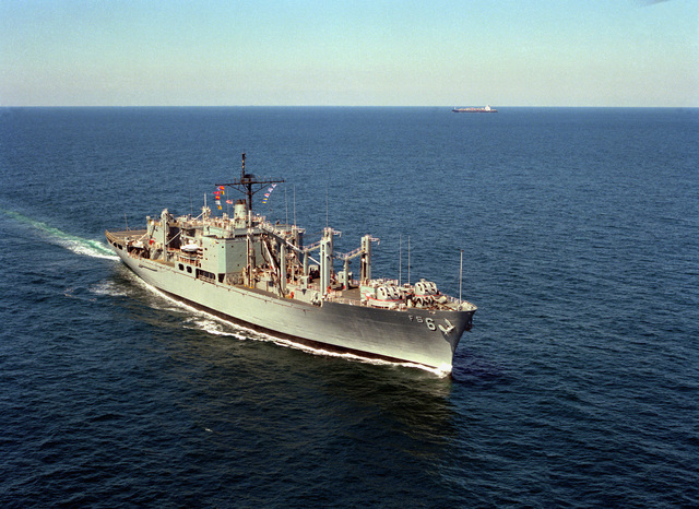 A starboard bow view of the combat stores ship USS SAN DIEGO (AFS-6) underway off Cape Henry, Va