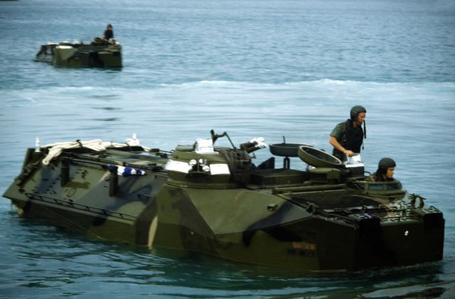 Marines come ashore in AAVP-7A1 assault amphibian vehicles during exercise Ocean Venture '88