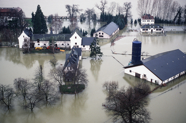An aerial view of flooding which resulted when the Rhine River overflowed after reaching its highest level in more than 100 years