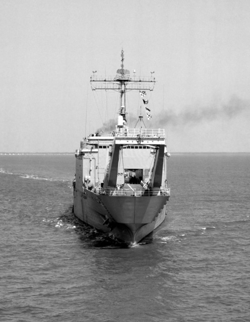 A bow view of the tank landing ship USS FAIRFAX COUNTY (LST 1193) underway