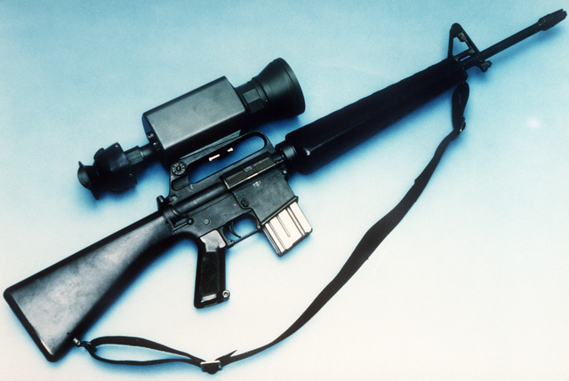 An M16A2 rifle equipped with a short range thermal sight.  The system is in the final stage of development