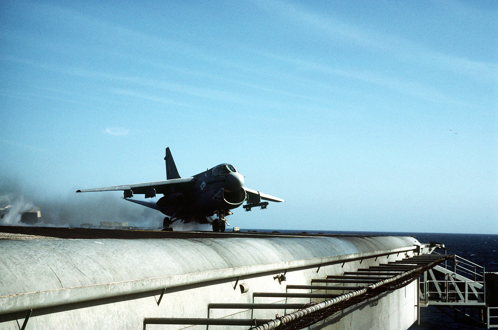 An Attack Squadron 46 (VA-46) A-7 Corsair II aircraft is launched during flight operations aboard the nuclear-powered aircraft carrier USS DWIGHT D. EISENHOWER (CVN-69)