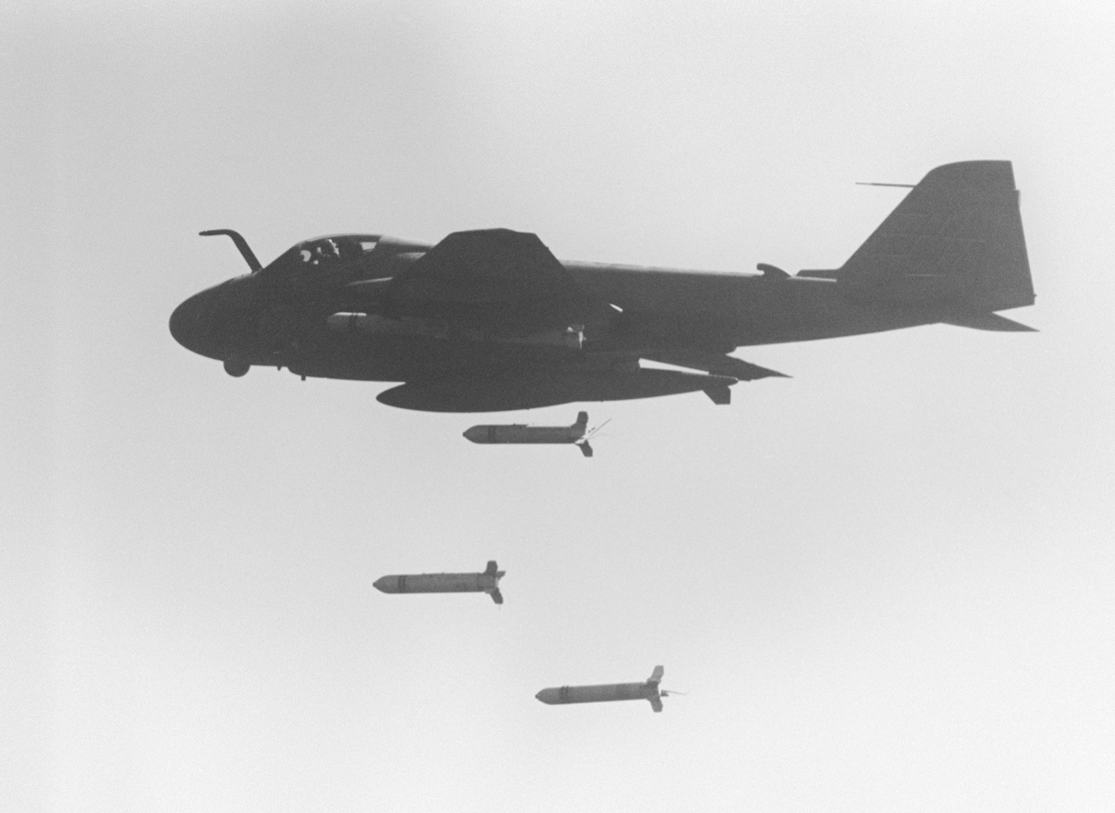 An air to air left side view of an A-6E Intruder aircraft dropping CBU-59 cluster bombs over Iranian targets in retaliation for the mining of the guided missile frigate USS SAMUEL B. ROBERTS (FFG 58)