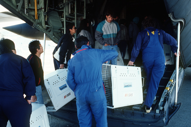 Citizens help load a C-130H aircraft with sledge dogs bound for Thule Air Base in the north, and then the village of Quanaag, where the entire local population of Huskies was wiped out by a distemper epidemic.  The 109th Tactical Airlift Group of the New
