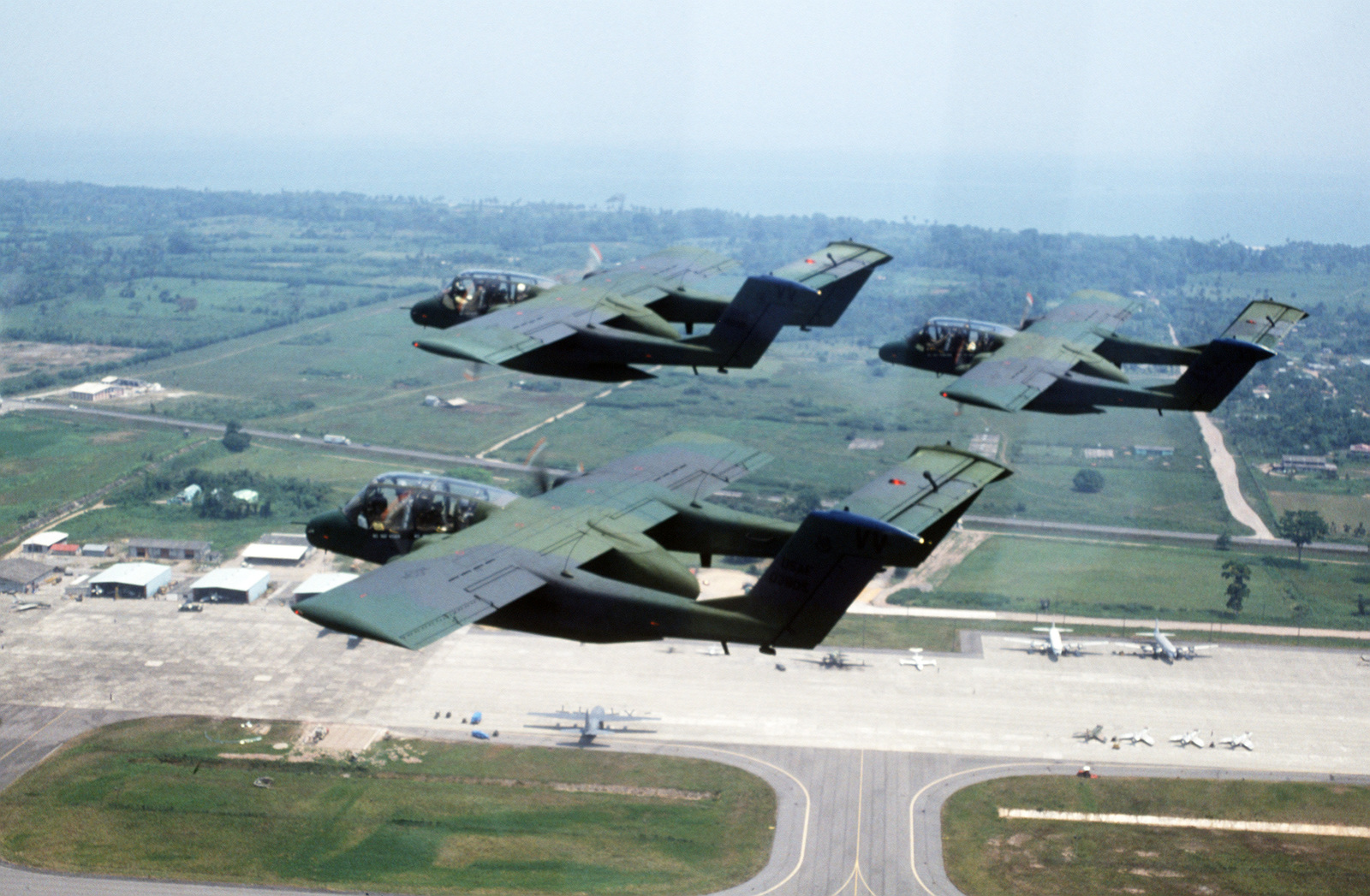 An air-to-air left rear view of 27th Tactical Air Support Squadron ...