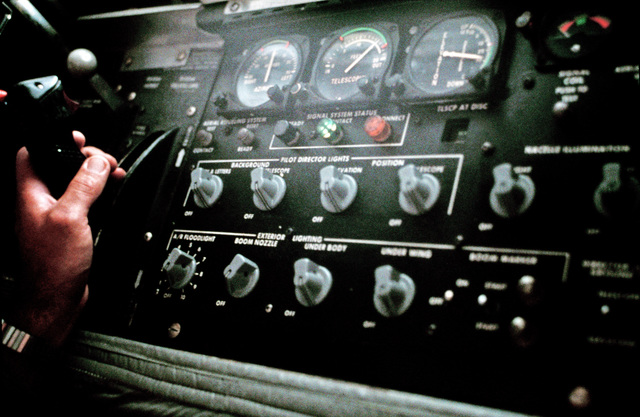 A close-up view of the refueling boom control board of a 940th Air Refueling Group KC-135E Stratotanker aircraft.    Stratotankers from the unit are deployed to RAF Mildenhall to provide aerial refueling support to aircraft of the US Air Forces Europe