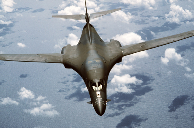 An air-to-air right front view of a B-1B aircraft during Exercise DISTANT MARINER