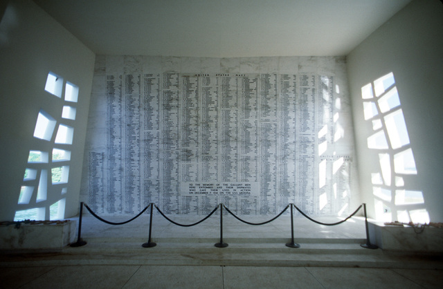 A view of a wall inside the USS Arizona Memorial. The wall bears the names of the sailors and Marines who died aboard the Arizona during the December 7, 1941, attack on Pearl Harbor