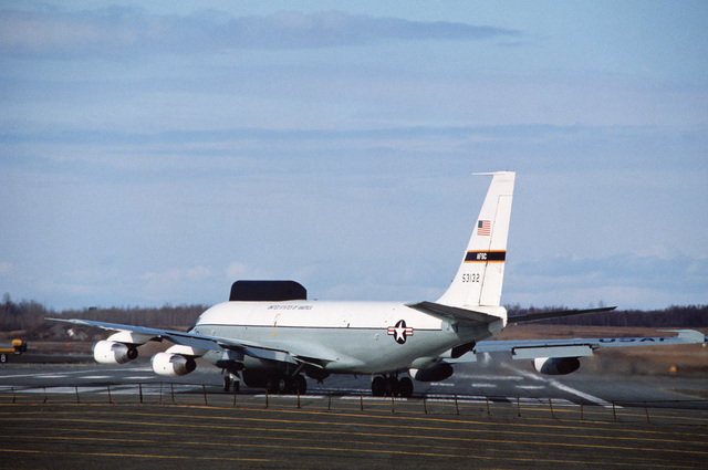An NKC-135 Stratotanker aircraft taxis down the flight line in preparation for taking off on a sortie.  The aircraft is participating in AMALGAM WARRIOR 88, the largest air defense exercise of the year designed to afford units the opportunity to practice