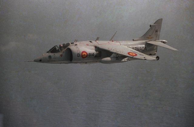 An air-to-air left side view of a Spanish AV-8S Matador aircraft