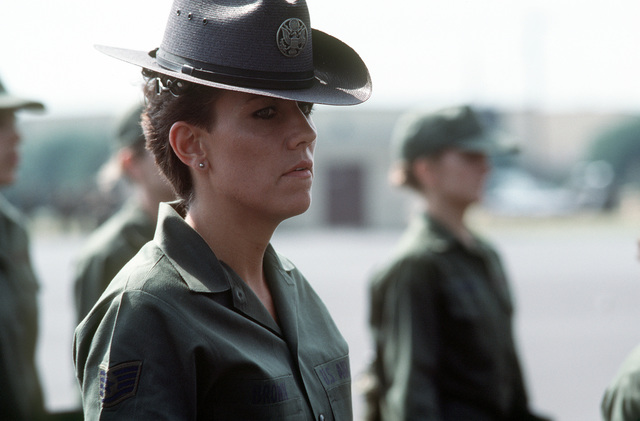 A close-up view of STAFF SGT. Elizabeth M. Brown, instructor, 3707th Basic Military Training Squadron
