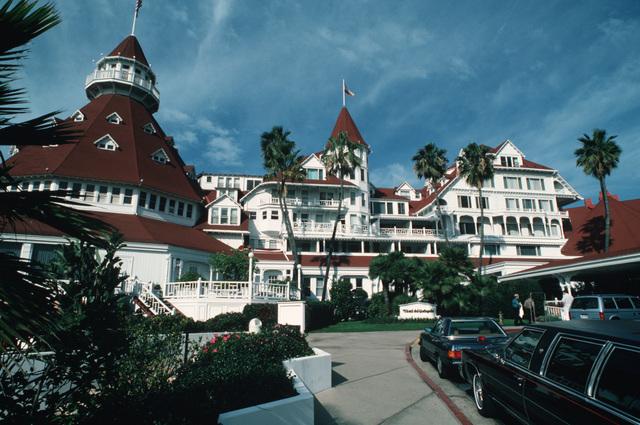 An exterior view of the Hotel Del Coronado, a historic city landmark