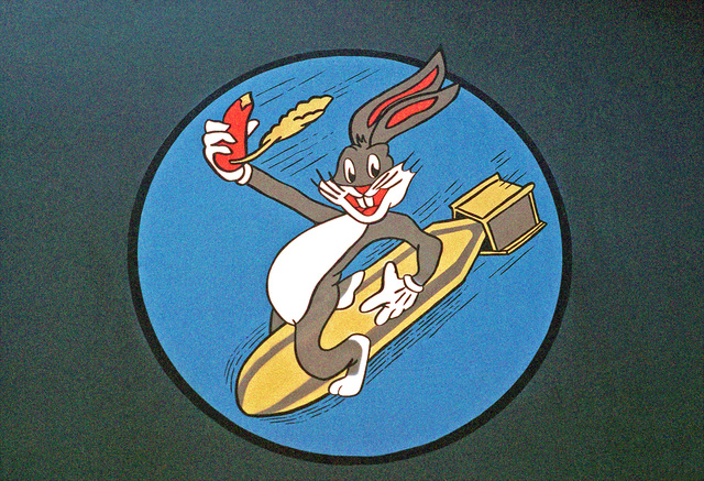 Bugs Bunny enjoys a carrot and a ride on a descending bomb compliments of the 529th Bombardment Squadron, 320th Bombardmen Wing.  The squadron's FB-111s have revived the nose art originally used by the B-24 Liberators of the 529th during World War II
