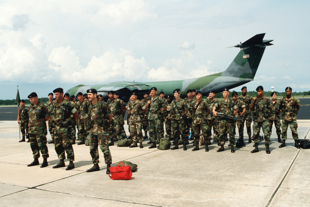 Members of the 834th Security Police Squadron form up on the flight line prior to dismissal.  Forty-four security police were sent to Howard Air Base, Panama, in April to provide additional security for threatened US personnel in the country