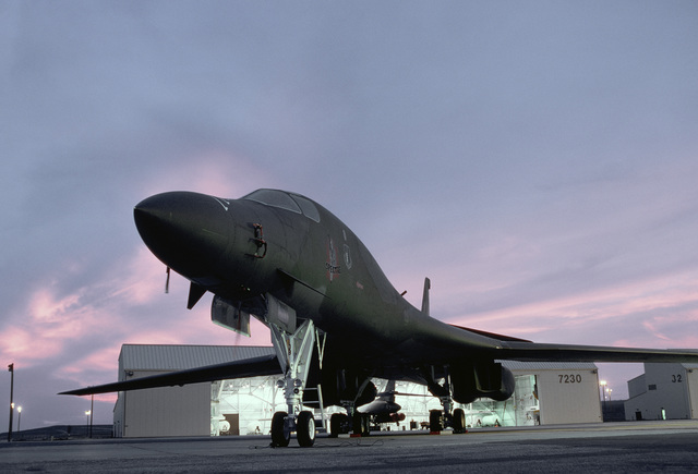A 28th Bombardment Wing B-1B aircraft is readied for a night sortie