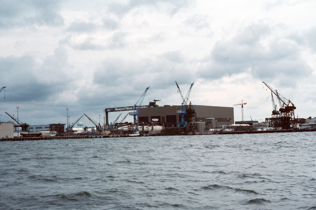 A view of the new submarine assembly building located at