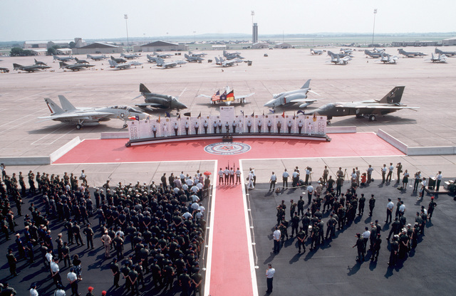 """Various aircraft are parked on the flight line during the opening ceremony for Reconnaissance Air Meet""""88.  The international competition is being hosted by the 67th Tactical Reconnaissance Wing at Bergstrom Air Force Base"""