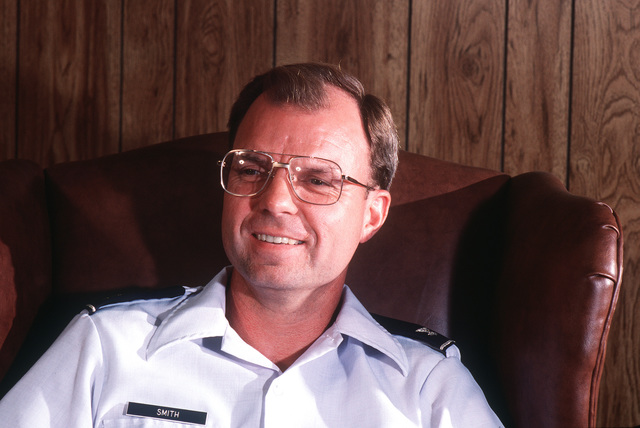 A close-up view of COL. Mark Smith, chief of Strategic Air Command's Information Systems Implementation Division at Offutt Air Force Base, Neb., and former commander, 1957th Information Systems Group