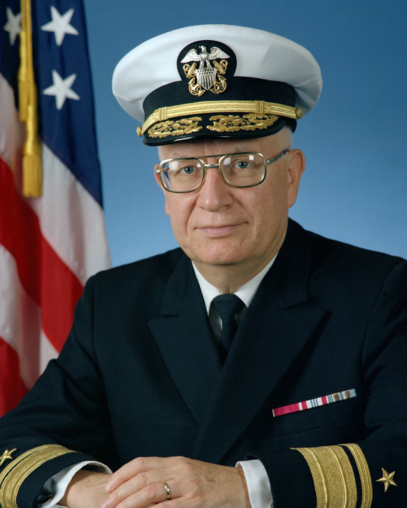 Portrait:  US Navy (USN) Rear Admiral (RADM) (upper half) William J. Miles (covered)