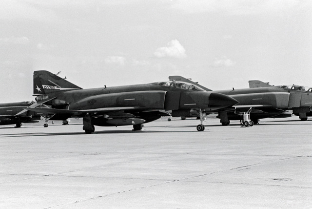A group of F-4C Phantom II aircraft from the 147th Fighter Interceptor Group of the Texas Air National Guard find shelter from Hurricane Gilbert at Sheppard Air Force Base