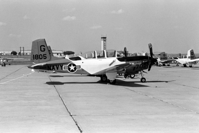 A group of T-34C Mentor aircraft of Training 27 (VT-27), Training Air Wing 4 (TAW-4), find shelter from Hurricane Gilbert at Sheppard Air Force Base