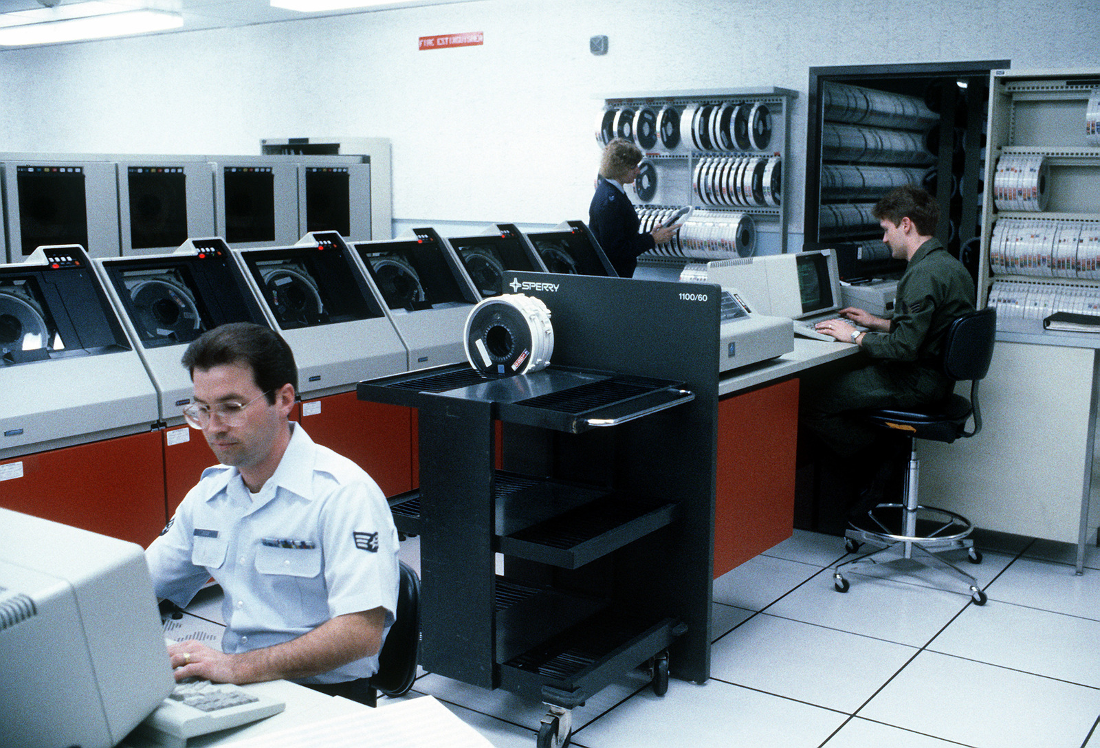 An interior view of the information processing center computer room