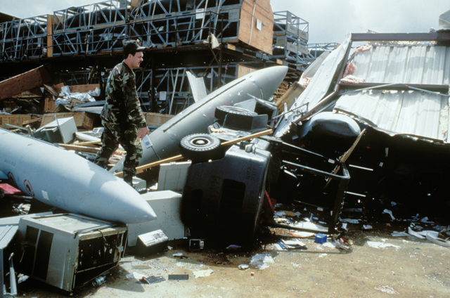 Damage inflicted when Hurricane Gilbert, known as the Storm of the Century, struck Kelly AFB, Texas. Exact Date Shot Unknown