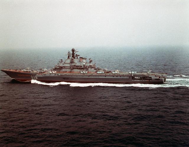 A port beam view of the Soviet Kiev Class Aircraft Carrier NOVOROSSIYSK (CVHG) underway