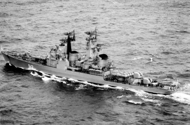 A port quarter view of the Soviet Kynda Class Guided Missile Cruiser VARYAG underway