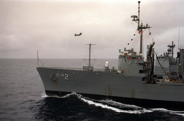 A port view of a Soviet Sovremenny class guided missile destroyer underway. The ship is operating in the area of the USS FORRESTAL (CV 59) battle group, which is participating in exercise WEST WIND '88