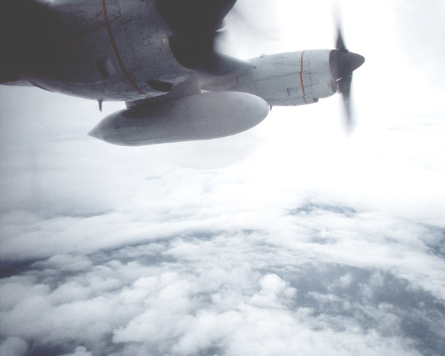 The eye of Hurricane Gilbert, as seen from a left-side window of a WC-130H Hercules aircraft from the 53rd Weather Reconnaissance Squadron cruising at 10,000 feet