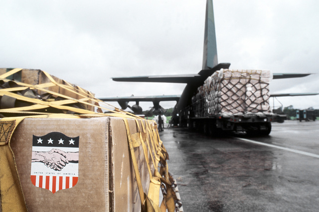 American disaster relief supplies such as chain saws, plastic tarpaulins, tents and water containers are loaded aboard a C-130 Hercules aircraft of the 50th Tactical Airlift Squadron. The supplies will be flown to Jamaica, where Hurricane Gilbert caused e